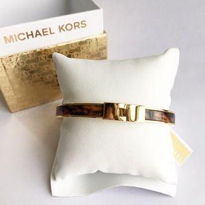 Michael Kors Gold Tortoise Bangle Buckle Bracelet